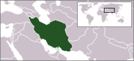 A map showing the location of Iran
