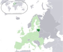 Kinaroroonan ng  Lithuania  (dark green) – sa lupalop ng Europa  (light green & dark grey) – sa Unyong Europeo  (light green)  —  [Gabay]
