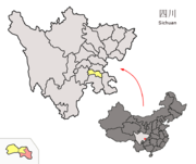 Location of Fushun within Sichuan (China).png
