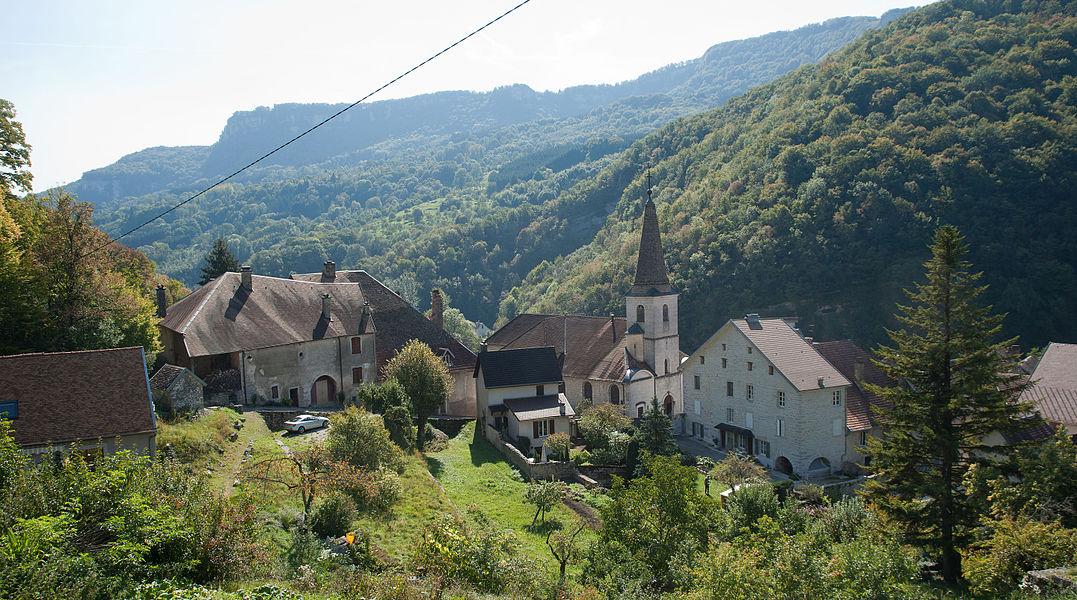 Village de Lods dans le Doubs, France.