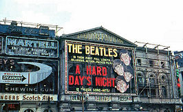 Aankondiging A Hard Day's Night in het London Pavilion (1964)