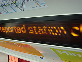 London Underground 2009 Stock - Dot matrix display within a 2009 Stock carriage