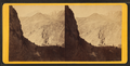 Looking down at Devil's Gate bridge, the high peaks of the Wahsatch (Wasatch) in the distance, from Robert N. Dennis collection of stereoscopic views.png