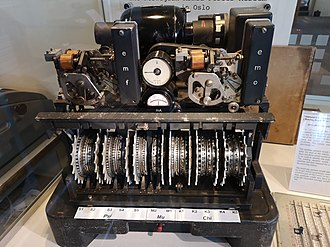 Cryptanalysis of the Lorenz cipher - A Lorenz SZ42 cipher machine with its covers removed at The National Museum of Computing on Bletchley Park