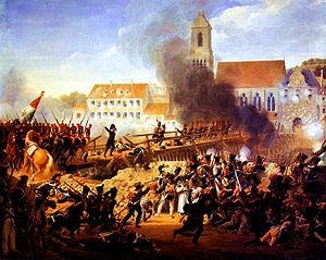 Battle of Landshut (1809) - Image: Louis Hersent Crossing the bridge at Landshut