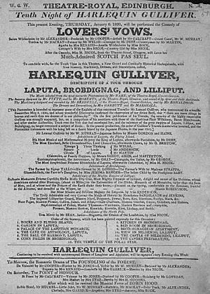 Lovers' Vows - Playbill for performance of Lovers' Vows at the Theatre Royal, Edinburgh, 1820