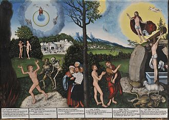 Theology of Martin Luther - Law and Grace painting by Lucas Cranach