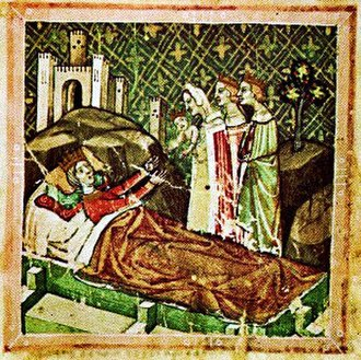 Louis I of Hungary - Louis's birth depicted in the Illuminated Chronicle