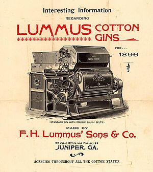 Cotton gin - An 1896 advertisement for the Lummus cotton gin.