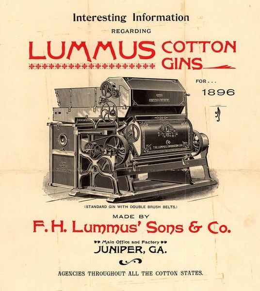 Lummus cotton gin advertisement, 1896