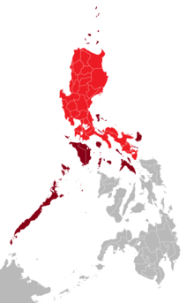 Luzon island is shown in colour red; its associated islands in maroon