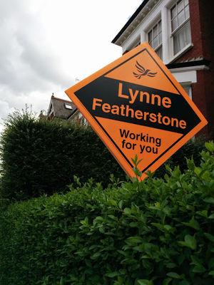 Lynne Featherstone - A 2015 LibDem election stakeboard for Lynne Featherstone