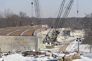 M-231 (Michigan highway) - Grand River bridge approaches under construction in March 2014