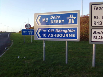 N2 road (Ireland) - Northbound entrance to the motorway north of Kilshane