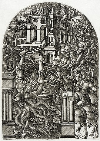 Horror vacui - The Fall of Babylon, engraving by Jean Duvet from the Apocalypse series, circa 1555, plate size: 11 ⅞ x 8 ⅜ in.