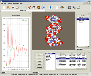Computer display showing temperature function on left, DNA molecule in center, and various menu items to right and below.