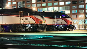 Caltrain Express - Image: MPI MP36PH 3C locomotives of Caltrain at night