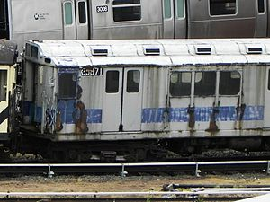 R14 (New York City Subway car) - Car 5871 (renumbered to 35871) at the 207th St Yard, awaiting cosmetic restoration.