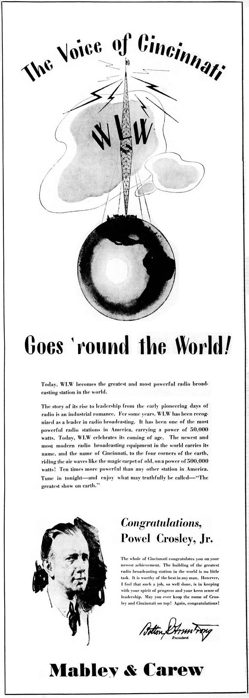 Mabley and Carew advertisement congratulating WLW Cincinnati Ohio radio (1934)