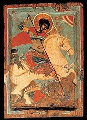 St George the dragon-slayer on horseback