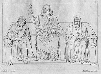 Aeacus - Minos, Aeacus and Rhadamanthys by Ludwig Mack, Bildhauer