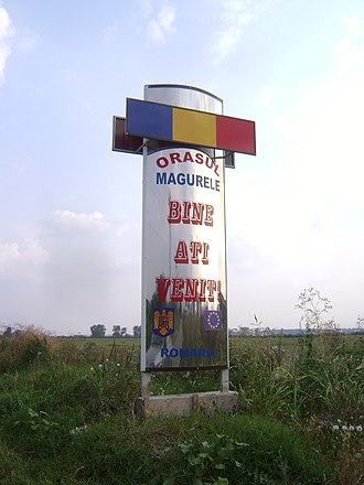 Măgurele - Welcome sign at the town's southern entry