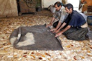 Felt - Making a felt robe for Bakhtiari shepherds