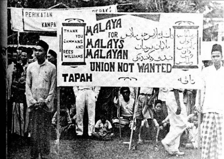 Protest against the Malayan Union by the Malays. Malayan Union protest.png