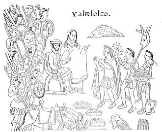 La Malinche - La Malinche and Hernán Cortés in the city of Xaltelolco, in a drawing from the late 16th-century codex History of Tlaxcala.