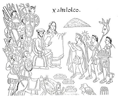 La Malinche and Hernan Cortés in the city of Xaltelolco, in a drawing from the late 16th century codex History of Tlaxcala.