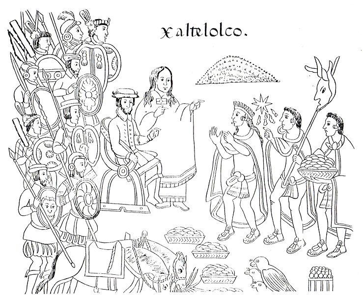 La Malinche traduce la lengua de los mexicas a Cortés. Lienzo de Tlaxcala, siglo XVI.