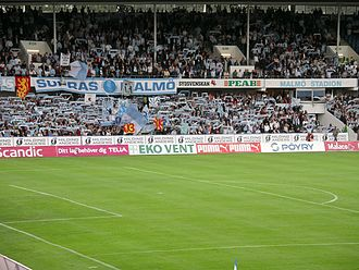 Malmö Stadion - Malmö FF supporters in an Allsvenskan match against Hammarby IF in 2008