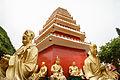 Man Fat Tsz (Ten Thousand Buddhas Monastery) , Pagoda and surrounding Arhan statues, Sha Tin (Hong Kong).jpg