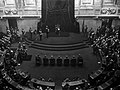 Manuel II of Portugal delivering the crown speech at the opening of the Parliament.jpg