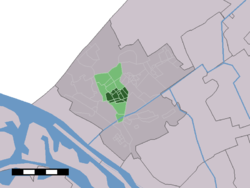 The village (dark green) and the statistical district (light green) of Naaldwijk in the municipality of Westland.