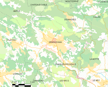 Map of the commune Draguignan