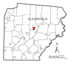 Map showing Clearfield in Clearfield County