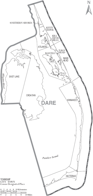 Dare County, North Carolina - Map of Dare County, North Carolina With Municipal and Township Labels