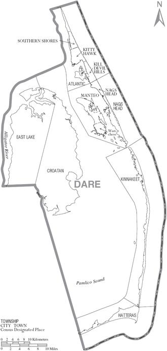 Dare County, North Carolina - Map of Dare County, North Carolina With Municipal and Township Labels