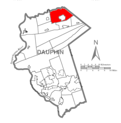 Map of Dauphin County, Pennsylvania Highlighting Lykens Township.PNG