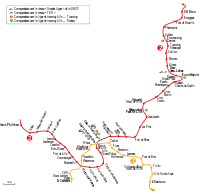 Map of Lille metro lines 1 and 2.svg