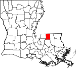 State map highlighting Saint Helena Parish