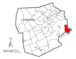 Map of Luzerne County highlighting Buck Township