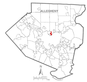 Location of Millvale in Allegheny County