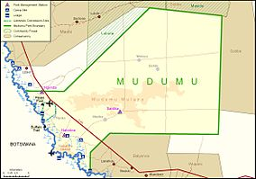 Official map of Mudumu National Park, Namibia, from the Ministry of Environment and Tourism and NamParks Project
