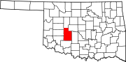 Map of Oklahoma highlighting Caddo County.svg
