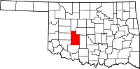 Map of Oklahoma highlighting Caddo County