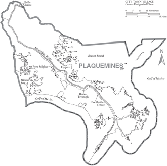 Plaquemines Parish, Louisiana - Map of Plaquemines Parish with municipal labels