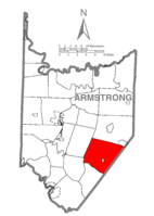 Map of Armstrong County, Pennsylvania highlighting Plumcreek Township