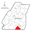 Map of Somerset County, Pennsylvania highlighting Greenville Township.PNG
